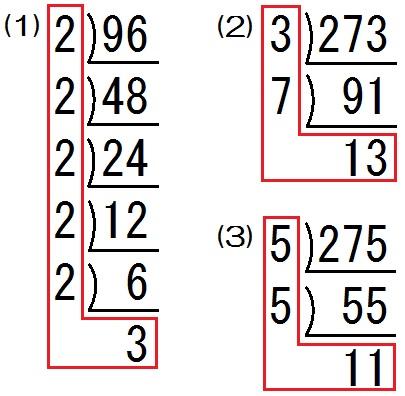 素因数分解の練習問題 解答